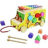 Xilofono Madera Infantil Instrumentos Musicales Infantiles Niños con Autobus de Juguete de Madera Juguete Musical Bebe Juguet