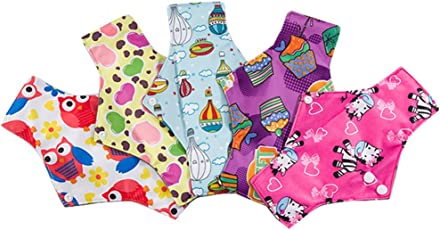 Healifty 5Pcs Cloth Pads Portable Foldable Breathable Bamboo Charcoal Cloth Menstrual Pads