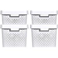 CURVER | 4 Bacs de rangement Infinity 2x(11L+17L) + couvercles , blanc , Plastique recyclé