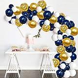 Micacorn Palloncini in Oro Blu Navy 109 pezzi con Palloncini Coriandoli in Oro Bianco con Palloncini Accessori per Feste di L