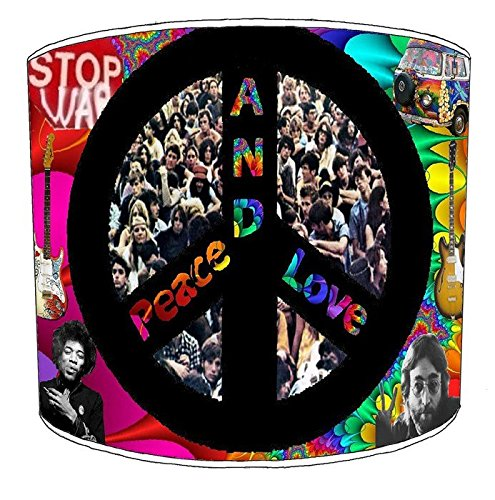 8pulgadas techo Hippie Paz y Amor lampshades15, 30,5 cm