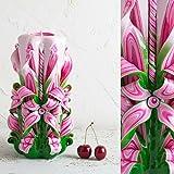 Groß, Rosa, Grün und Weiß - dekorative, handgefertigte, geschnitzte Kerze - EveCandles