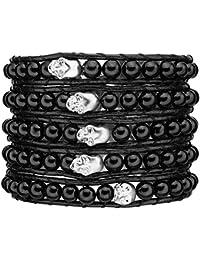 Rafaela Donata - Bracelet en cuir véritable tête de mort - Cuir véritable agate, bracelet agate, collier en cuir véritable, bijoux en cuir, bijoux en agate - 60831005