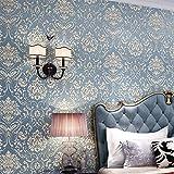 LZYMLG 3d auto-adhésif européen papier peint chambre salon TV fond sticker mural rénovation de meubles film décoratif Bleu royal 53cm*1m