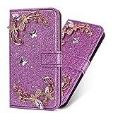 Miagon Hülle Glitzer für Galaxy J5 2017,Luxus Diamant Strass Blume PU Leder Handyhülle Ständer Funktion Schutzhülle Brieftasche Cover für Samsung Galaxy J5 2017,Lila