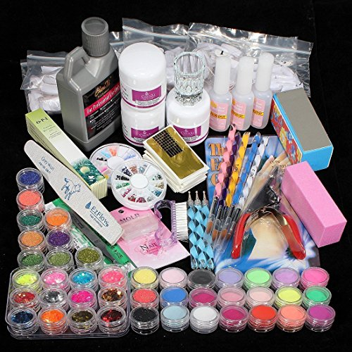 WJiXin Komplettes Set Acryl UV Pulver Gel Kit für Pinselspitze UV-Licht Lampe NAIL ART DIY Kit für Maniküre mit Entenagel (1) - Gel-acryl-kit