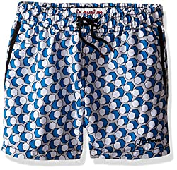 Jr. Swim Little Boys Jr.Swim Double Hexagon Swim Trunks, Blue Hexagon, 7