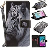 Ooboom® Samsung Galaxy A3 2016 Coque Faux Cuir Flip Housse Étui Cover Case Wallet Pochette Supporter Porte-Cartes de Crédit pour Samsung Galaxy A3 2016 - Tigre Blanc