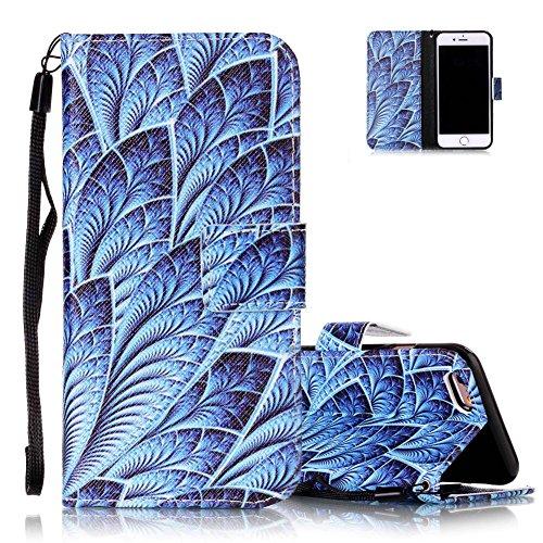 Coque Housse Etui iPhone 7 Cuir PU - Aeeque® Coque à Rabat Fonction Portefeuille de Carte Slots Support Bouton Magnétique Case Housse Cover Coque iPhone 7 4.7 pouce [Plumes de Campanula] Motif #31