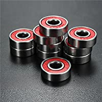 FEVERWORK EsportsMJJ 10pcs ABEC-7 Red Sealed Deep Groove Skateboard Ball Bearing 608RS 9x22x6mm Ball Bearing