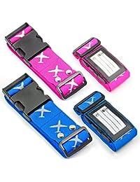 Correas para Equipaje, Cinturones de la Maleta ajustables de equipaje de viaje cinturones, Accesorios de Viaje embalaje con ranura para etiquetas de identificación (Paquete de 4) (5 x 190cm )