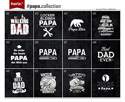 Hariz Herren T Shirt Papa Collection 36 Designs Wählbar Schwarz