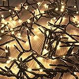 560er Cluster-Lichterkette LEDs Innen und Außen Trafo warmweiß Kabel Dunkelgrün