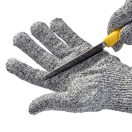 WOWOSS 1 Paar Schnittsichere Handschuhe für Kinder - HPPE Level 5 Schutz, EN-388 Zertifiziert, Lebensmittelecht. Größe : XS (8-12 Jährige)