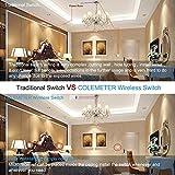 Lichtschalter Funkschalter Set, COLEMETER Funk Schalter Wasserdicht Funk Wandschalter 160M Reichweite Drahtloser kinetische Energie Schalter mit Empfänger keine Leitungsverlegung für Eletrogerät 50 Jahre Benutzbar Vergleich