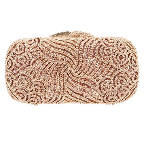 Bonjanvye Bling Rhinestone Clutch Paisley Clutch Hard Case Clutch Purse Rose Gold Rose gold