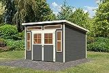 Karibu Gartenhaus TINKENAU 8 terragrau Gerätehaus 302x306cm 19mm