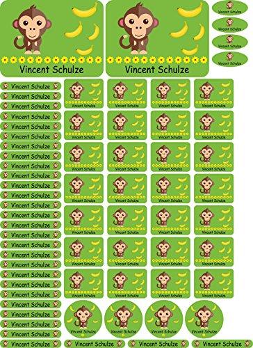 INDIGOS UG Namensaufkleber/Sticker - A4-Bogen - 085 - Affe - 69 Aufkleber für Schule, Kindergarten, Hefte, Bücher - Stifte, Federmappe, Lineale - auch für Erwachsene - individueller Aufdruck