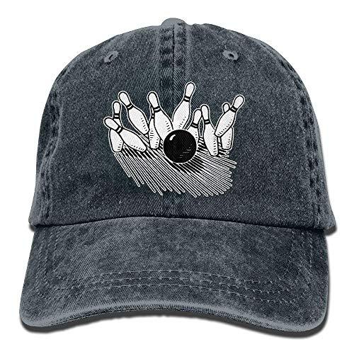 Unisex Baseball Cap Cotton Denim Hat Bowling Ball Striking Bowling Pin Adjustable Snapback Sun Hat - Fedora-pin