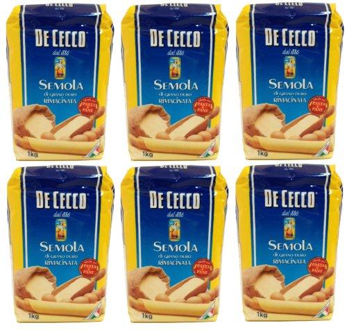 farina di grano duro De Cecco - Hartweizengrieß - Semola di grano duro rimacinata (6 x 1 kg)