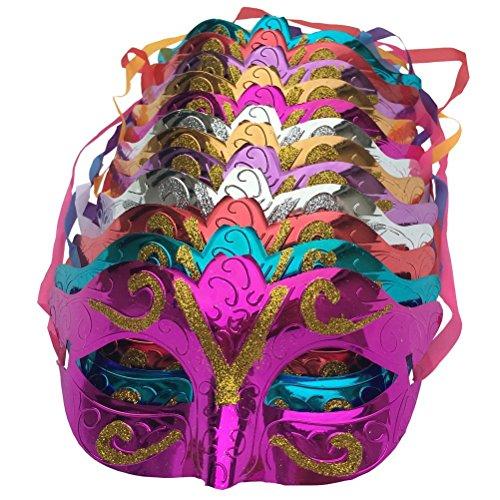 12 Stück Unisex-Gold glänzend geplatzte Maske Hochzeits-Requisiten Masquerade Mardi Gras Halb Gesicht Maske Karneval Fancy Kleid Kostüm Accessoire für Halloween Christmas Xmas Party