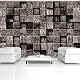 FORWALL Fototapete Tapete Braune Holzwürfel P8 (368cm. x 254cm.) Photo Wallpaper Mural AMF3164P8 Gratis Wandaufkleber Imitation Blumen Pflanzen 3D Holz Braun