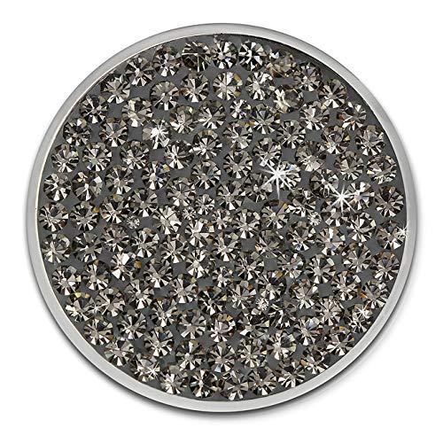 Amello Coin Edelstahl-Schmuck Coin mit Zirkonia grau - Coin für Amello Coinsfassung für Damen - - 30 mm, Größe M Edelstahlschmuck Stainless Steel ESC301K
