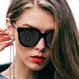 Mode Polarisierte Groß Sonnenbrille verspiegelt Für Damen und Herren, UV400, Entspiegelten, Reflektierenden Spiegel (Schwarz)