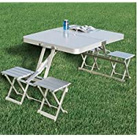 Portable Aluminum Picnic Table With Four Seats And Case