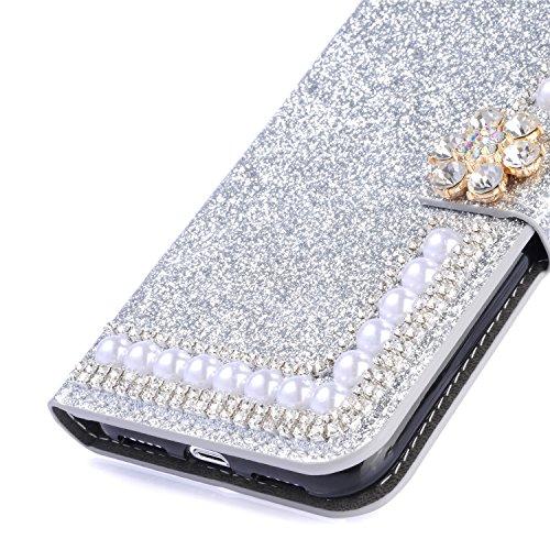 Custodia per iPhone 5 5S SE 4 Cover in Pelle Portafoglio, Funyye Lusso Eleganza [Diamante Perla] Design Incorporare Affascinante Flip Wallet Case Bello Scintillante PU Leather Shell Skin Bumper + 1 x #6 Argento