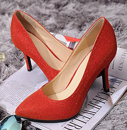 Damen Pumps Glitzer Spitz Zehen High-Heels Slip on Elegant Abend Party Hochzeit Rutschhemmend Bequem Modisch Stiletto Rot