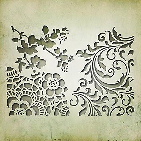 Sizzix 661185 Thinlits Die Set Matrice Décoration Floral Mixed Media #2 par Tim Holtz Acier Carbone Multicolore 19 x 14,5 x 0,5 cm 3 Pièces