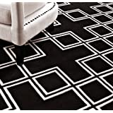 Beautiful luxury carpet made from 100% New Zealand wool with meander pattern, Black / White, silky smooth, 170 x 240 cm - High quality