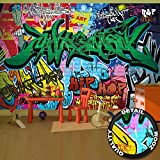 great-art Fototapete Street Style Wandbild Dekoration Graffiti Art Writing Pop Art Schriftzüge Wall Painting Mauer Urban Abstract Comic | Foto-Tapete Wandtapete Fotoposter Wanddeko by (336 x 238 cm)