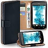 OneFlow Tasche für HTC One S Hülle Cover mit Kartenfächern | Flip Case Etui Handyhülle zum Aufklappen | Handytasche Schutzhülle Zubehör Handy Schutz Bumper in Schwarz