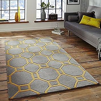 Think Rugs Hong Kong 4338 Hand Tufted Rug Grey Yellow 120 X 170