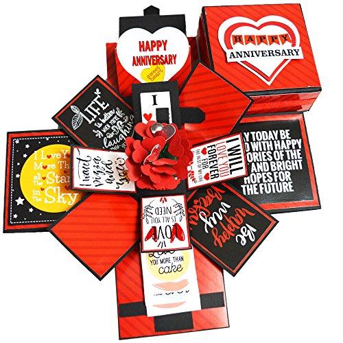 DecuT Explosion Box 3 Layered Handmade Anniversary Explosion Box Romantic Gift Unique Scrapbook DIY Sweet Memories Photo Album (DIY Accessories Kit)
