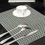Kuber Industries Weaving Style PVC 6 Piece Dining Table Place Mat Set - Grey