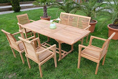 Edle TEAK XXL Gartengarnitur Gartenset Sitzgruppe Gartenmöbel Ausziehtisch 150-200cm + 4 Sessel + Gartenbank 'ALPEN' Holz geölt von AS-S