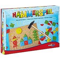 Noris-Spiele-606049101-Hammerspiel-Kinderspiel Noris – Hammerspiel, Lern- und Geschicklichkeitsspiel mit 50 bunten Holzbauteilen in verschiedenen Formen, für Kinder ab 4 Jahren -