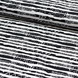 Stoff Baumwolljersey Jersey Tammy schwarz weiß mit Crash Streifen 50cm x 155cm Stoff zum nähen Meterware Kinderstoff