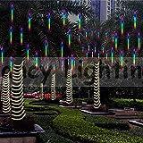 Geführter Meteor Dusche fallender Regen-Eiszapfen Schnee-im Freien Schnur beleuchtet imprägniern Garten 30cm 8 Schlauch 144 LED Innenschlafzimmer Glanz-kühle Schneefall-Streifen Beleuchtung (Bunt)