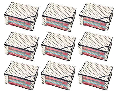 Kuber Industries™ Polka Dots Designer Saree Cover/Regular Cloth Bag/Wardrobe Organiser Set of 9 Pcs (Ivory)