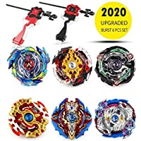 infinitoo Bey Battle Burst, Burst Evolution Combination Series 4D, Set of 6 Fighter Gyroscope 4D Fusion Model, 2 throwers Set with Launcher | Blade Best Gift for Children Kids
