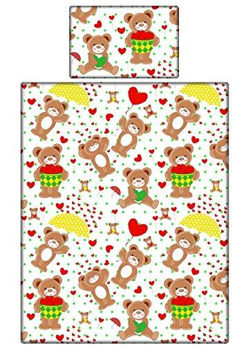 Teddybären Betten Set, Mädchen und Jungen Bettbezug und Kissenbezüge Kinderbett//Kleinkind–ROT LOVE Herzen Teddies, 100 % Baumwolle, multi, 90x120 cm