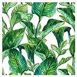 murando - Vlies Tapete tropische Blätter - Deko Panel Fototapete Wandtapete Wand Deko 10 m Tapetenrolle Mustertapete Wandtapete modern design Dekoration - Natur grün weiß b-B-0317-j-a