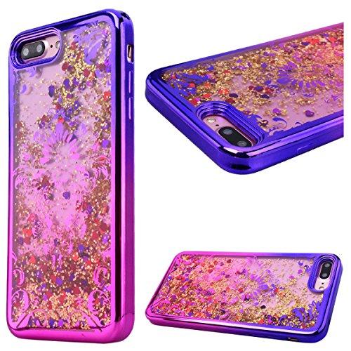 """GrandEver Coque iPhone 7 4.7"""" 3D Liquide Silicone Transparente { Or } Paillettes Souple Flexible Etui Glitter Sable Étoiles Rigide Back Cover Case Anti-Choc Anti Rayures Housse pour iPhone 7 --- Tour Fleur"""