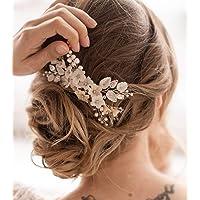 Unicra - Pettine per capelli da sposa con fiore in argento, accessorio per capelli da sposa per donne e ragazze