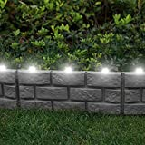 Parkland® Instant Brick Effect Border Lawn Edging with LED Solar Lights Plant Border - Simply Hammer In (Pack of 4, Grey)