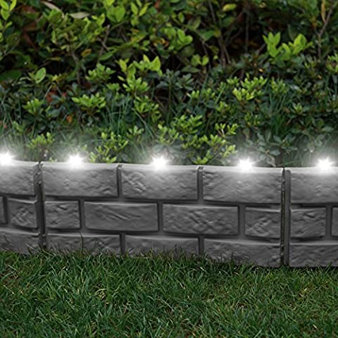 Parkland® Instant Brick Effekt Grenze Rasenkante mit LED Solarleuchte Pflanze Bordüre–einfach mit einem Hammer (Brick Rasenkanten)